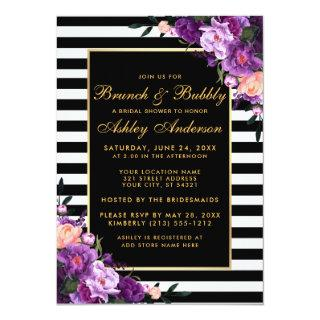 Gold Striped Purple Bridal Shower Brunch Invite