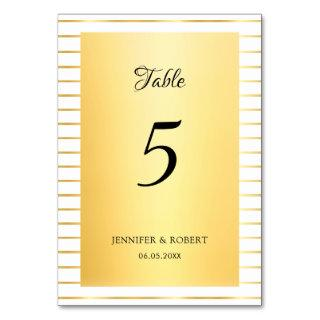 Gold Striped Template Elegant Script Calligraphed Table Number
