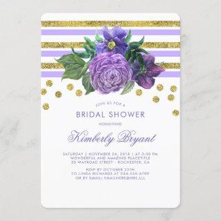 Gold Stripes and Purple Flowers Chic Bridal Shower