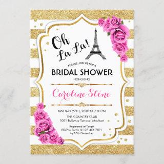 Gold Stripes Pink Roses French Style Bridal Shower Invitations