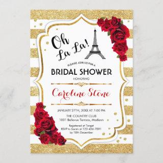 Gold Stripes Red Roses French Style Bridal Shower