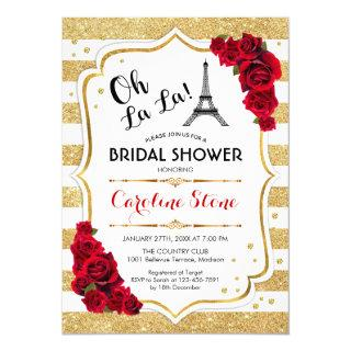 Gold Stripes Red Roses French Style Bridal Shower Invitation