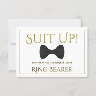 Gold Suit Up Be My Ring Bearer Card