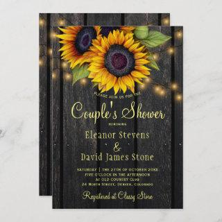 Gold sunflower rustic barn wood couples shower Invitations
