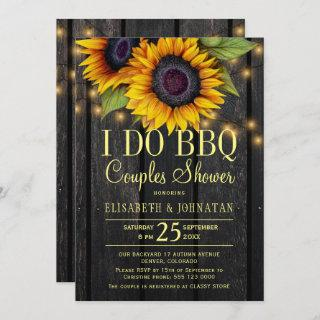 Gold sunflowers country barn wood couples shower Invitations