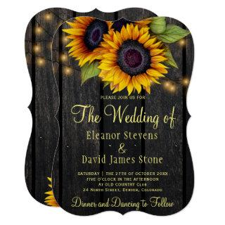 Gold sunflowers rustic country barn wood wedding Invitations