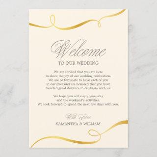 Gold Swirl Wedding Welcome Note | Custom Color
