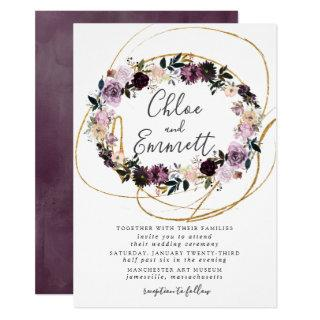 Gold  Swirls Purple Pink Floral Wedding Invitation
