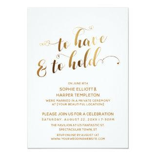Gold To Have and To Hold Post-Wedding Celebration Invitation