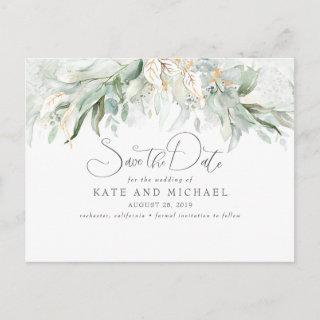 Gold Touch Greenery Romantic Save the Date Postcard