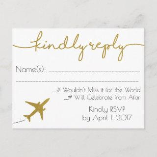 Gold, Travel Wedding RSVP Postcard