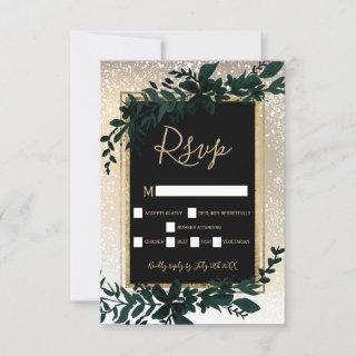 gold typography leaf snow elegant winter rsvp