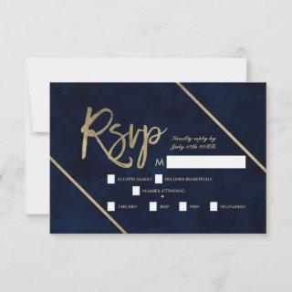 Gold typography navy blue watercolor rsvp wedding