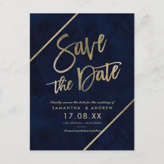 Gold typography navy blue watercolor save the date announcement postcard