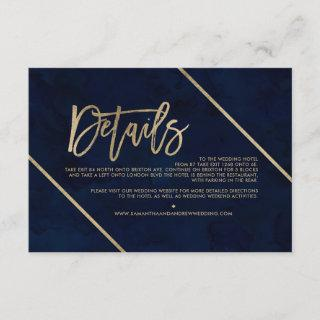 Gold typography navy blue wedding direction enclosure card