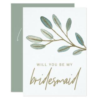 Gold Veined Eucalyptus Bridesmaid Proposal Invitations