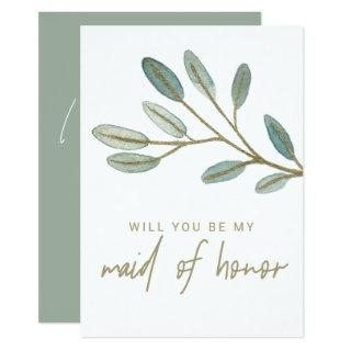 Gold Veined Eucalyptus Maid of Honor Proposal Invitations