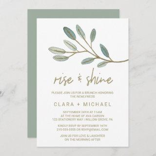 Gold Veined Eucalyptus Rise and Shine Invitations
