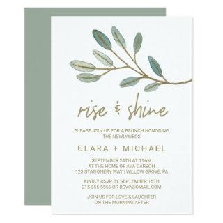 Gold Veined Eucalyptus Rise and Shine Invitation