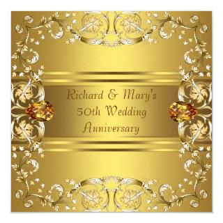 Gold Victorian Flowers Gold 50th Anniversary Invitations