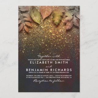 Gold Vintage Fall Leaves Elegant Wedding Invitation