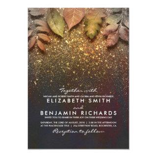 Gold Vintage Fall Leaves Elegant Wedding Invitations