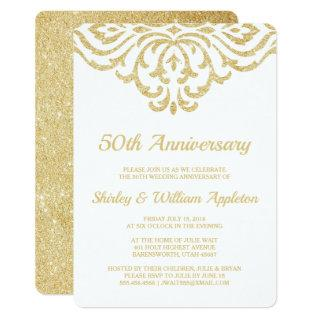 Gold Vintage Glam Elegant 50th Wedding Anniversary Invitation