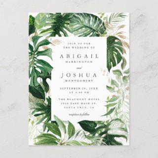 Gold & Watercolor Tropical Greenery Wedding Invitations Postcard
