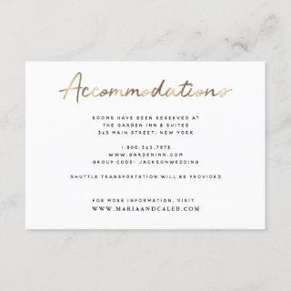 Gold Wedding Accommodations Details Card