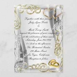 Gold Wedding Rings And Hearts Invitations