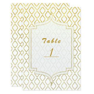 Gold & White Arabian Moroccan Glam Table Number