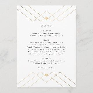 Gold White Elegance Diamond Geo Deco Wedding Menu