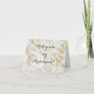 Gold & White Marble Will you be my Bridesmaid Invitations