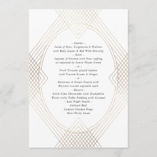 Gold White Oval Geometric Art Deco Gatsby Wedding Menu
