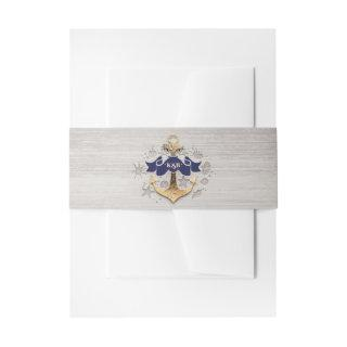 Golden Anchor Nautical Wedding Invitations Belly Band