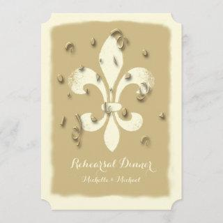 Golden Confetti Fleur de Lis event Invitations