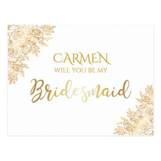 Golden Floral Decorative Bridesmaid Postcard