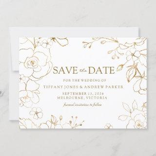 Golden Floral Simple Elegant Wedding Save The Date