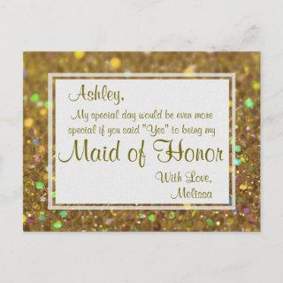 Golden Glitter - Will You Be My Maid of Honor? Invitations Postcard