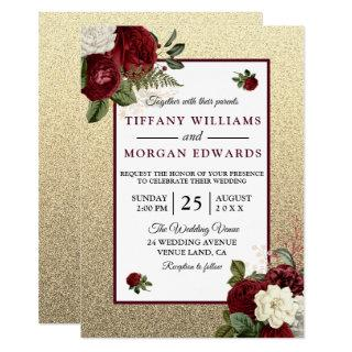 Golden Romantic Burgundy Floral Wedding Invite