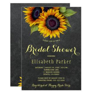 Golden sunflowers rustic chic bridal shower invitation