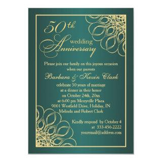 Golden swirls 50th Wedding Anniversary Invitations