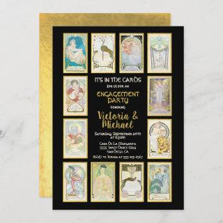 Golden Tarot Card Engagement Party Invitations