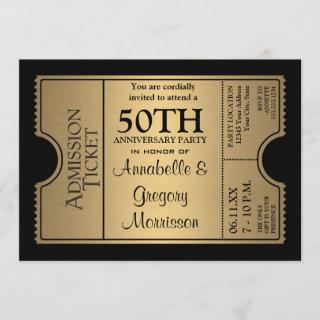 Golden Ticket Style 50th Wedding Anniversary Party Invitations