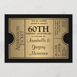Golden Ticket Style 60th Wedding Anniversary Party Invitations