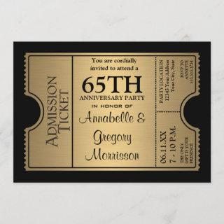 Golden Ticket Style 65th Wedding Anniversary Party Invitations