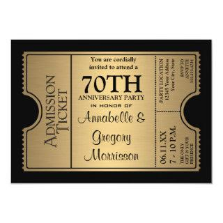 Golden Ticket Style 70th Wedding Anniversary Party Invitations