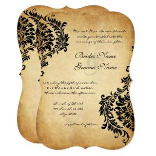 Golden Vintage Black Damask Wedding Invitations