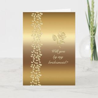 Golden Wedding roses and hearts Invitation