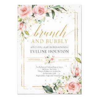 Gorgeous boho blush pink floral brunch and bubbly Invitations